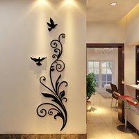 3d الاكريليك كريستال ثلاثي الأبعاد ملصقات الحائط الإبداعية السعادة الطيور غرفة المعيشة مدخل الباب ملصقات مورو 201202
