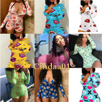 Donne Pigiama Onesies Designer 2021 Nightwear Playsuit Workout Button Skinny Cartoon Stampa Tipsuit V-Neck Neck Short Onesies Signore Pagliaccetti