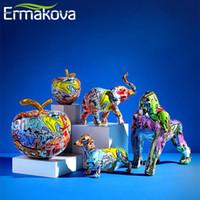 ЕРМАКОВА Nordic Картина граффити чихуахуа Мопс Gorilla Скульптура Фигурка искусство слон статуя Творческий Смола ремесла Home Decor