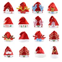 2020 cappelli di natale rosso e bianco del fumetto del bambino di Natale cappello di Babbo Natale alce portato Glowing cappello di Natale tema del partito Decoration100pcs T1I2592