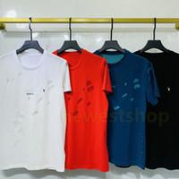 Роскошная Европа Париж сломанные отверстия футболка Двухслойная ткань Футболка Мужчины Женщины Небольшая буква Печать футболки дизайнер повседневная хлопковая тройник