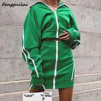 Fengguilai осень зима женщин сексуальная полосатая молния две части набор 2020 зеленый полная рукава урожая верхняя нижняя часть юбки одежды трексуит T200519