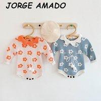 2020 Осень New Baby Girl Bodysuit Красочный цветок Синий Оранжевый с длинным рукавом вязаный свитер Комбинезон Новорожденные Одежда 0-2Y E82117