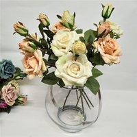2 Head Artificial Rose Edge Curl Simulación Rosa Flor Boda Decoración del hogar Flower Flower Día de San Valentín Regalo 6 Color T9I001012