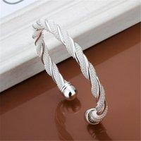 هدية عيد الفضة لون مجوهرات جميلة أنثى سلك شبكة الإسورة سوار مجوهرات للنساء الرجال B020 H SQCFNN