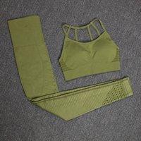 Athvotar Fitness Zweiteiler Set Trainingsanzug Push Up Strappy Sports BH und Leggings 2 Stück Sportanzüge Portswear Matching Set Frauen T200519