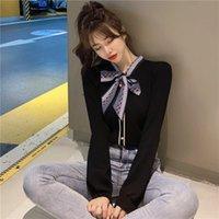 Jxmyy autunno / inverno maglione maglione da donna in alto allentato a maniche lunghe slim commutatore bowknot cardigan giacca maglione donna 201202