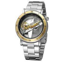 Granining Gold Hohl Automatische mechanische Uhren Männer Stahl Vintage Skeleton Uhr Uhr Relogio Masculino Hodinky
