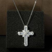 Victoria Wieck Jewelry de lujo Real 925 Sterling Silver Pave White Topaz CZ Diamond Gemstones Cross Colgante Lucky Mujeres Collar 58 L2