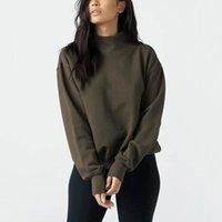 Женский пуловер Повседневная мода стиль высокий шеи падение плеча комфорта толстовка с щельюми