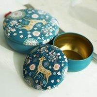 사슴 Unicorn Flamingo 패턴 케이스 원형 Makou 아이언 캔들 항아리 개인 가족 레트로 차 선물 사탕 상자 새로운 도착 2 25YY J2