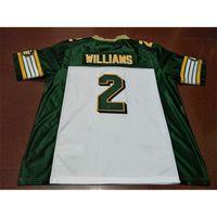 2604 Edmonton Eskimos # 2 Gizmo Williams White Green Real Full Stickerei College Jersey Größe S-4XL oder Benutzerdefinierte Name oder Nummer Jersey