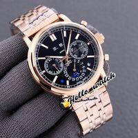 Nuovo calendario perpetuo super complesso 5204 / 1R-001 Automatic Mens Watch Moon Fase Black Dial Rose Bracciale in acciaio oro orologi Hello_Watch