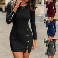 2020 Autumn Sexy Slim Dress Women Solid Color Long Sleeve Sexy O Neck Bodycon Dresses Mini Party Dress Vestidos
