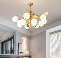 42-дюймовый 36W Современные Невидимый вентилятор зажигает Акриловый лист LED Потолочные вентиляторы питания беспроводной пульт дистанционного управления Nordic