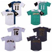 Hokkaido Nippon Ham Luchadores Japón 11 Shohei Ohtani Jersey de béisbol 16 hombres Todos cosidos Piñtripe Fresco Base Whte Green Team Color Black Men