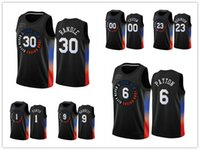 Nova yorkKnicks.HOMENSNBA Mitchell Robinson RJ Barrett Julius Randle Elfrid Payton CityEdiçãoJersey de basquete preto