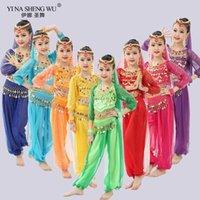 Meisjes kinderen buikdans kostuums 4 stks 7pcs (hoofddeksels + sluier + top + armbanden + taille ketting + broek) Kinderkostuum kg-176
