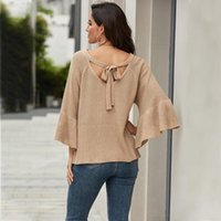 Women Casual Loose Autumn Sweaters Long Flare Sleeve Tops Fe...