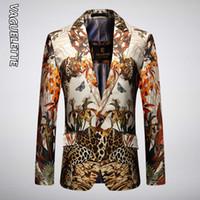 Vaguelette luxe motif léopard Slim Fit Blazer Masculino printemps Mens Blazer élégant Party Vestes mariage 201105