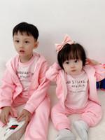 Baby Jungen Mädchen Anzug Herbst Infant Kinder Junge Reißverschluss Sweatshirt mit Hosen 2 teile / satz Kinder Kleidung Neugeborene Sportuit Tops