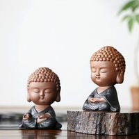 Zen Tathagata Tee Haustier Ornamente Keramik Lila Sand Kleine Mönch Buddha Statuen Wohnkultur Zubehör Moderne Miniaturfiguren T200710