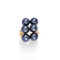 Модная полоса кольца красочные кристаллические украшения позолоченные ювелирные изделия из черного жемчуга гавайское кольцо для женщин