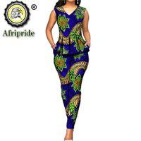 `s das mulheres topos conjunto dashiki 2 peças blusa calças + Ancara africano impressão roupa sem mangas v pescoço casual wear AFRIPRIDE S1926031 201009