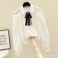 Frauen Blusen Hemden Langarm Weiße Chiffon Bluse Frauen All-Match Bow Revers Hemd 2021 Frühling Nancylim Büro Dame Weiblich Top1