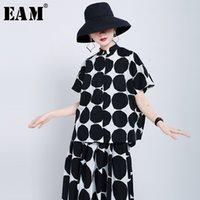 [EAM] Женщины черные большие точка напечатаны большие размеры блузка Новый отворот с коротким рукавом свободно подходит рубашка мода прилив весна лето 1U801 Y200622