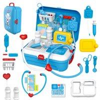 17pcs / 10 قطع الأطفال نتظاهر اللعب الطبيب لعبة مجموعة المحمولة حقيبة الطبية كيت دور لعب متعة لعب للأطفال مع العائلة LJ201214
