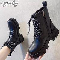 2020 женские высококачественные кожаные сапоги осень зима на шнурок женская обувь высокий толстый каблук ботинок мотоцикла сапоги Zapatos de Mujer # YR8T