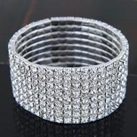 Luxo 1-8Rows casamento nupcial Bangles Mulheres Crystal Rhinestone pulseira trecho Limpar Pulseira Cuff 2021 moda jóias amor presente AL7499