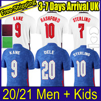 TOP Tailandia Calidad Thai Soccer Jersey 2020 Kane Sterling Rashford Lingard Vardy 20 21 Camisas Nacionales de Fútbol Hombres + Kit Kits Conjuntos Uniforme