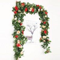 Guirnaldas de flores decorativas 2.4 m / 7.8 pies Seda artificial Flor de rosa Rose Wisteria Vid Rattan Guirnalda colgante para la fiesta de bodas Decoración del jardín