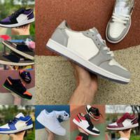 2021 새로운 1 망 농구 신발 낮은 회색 열대 조명 법원 보라색 화이트 UNC BRED 발가락 게임 로얄 고귀한 레드 섀도우 1S 여성 야외 신발