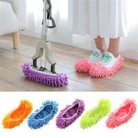 Zapatillas de la casa Cubierta de zapatos Mop Zapatillas de polvo macizo multifuncional Casa de baño de piso Cubierta de zapato de piso Limpieza de zapatillas de chenilla