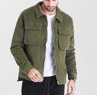 2021 Moda Moda Chaqueta de Corduroy Tendencia Moda Color Sólido Manga Larga Cardigan Cremallera Espesor Outerwear Designer Masculino Nuevos abrigos sueltos