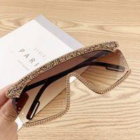 Glitter Diamante extragrandes Sunglasses Mulheres Moda Marca Designer One Piece Sun Óculos Vintage Verão UV400 Rhinestone Sunglass