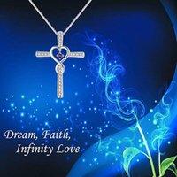 حار 925 فضة إنفينيتي محبة الله ونحن على ثقة المسيحي الصليب جوهرة الماس حجر الراين قلادة قلادة مجوهرات هدايا عيد الميلاد