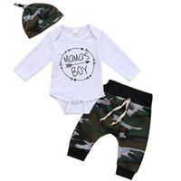 Herbst NEW Boy Mutter neugeborenes Kind-Baby-Body Top Hosen Hut 3Pcs Outfit Set Kleidung 0-18M