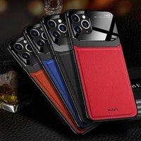 Sıcak Satış Yeni İş Stil PU Deri Temperli Telefon Kılıfı iPhone 12 Erkek Hibrid PC Arka Kapak için iPhone 07/11 / 8 / Artı / X / XR / XS / MAX için