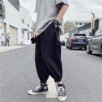 Iidossan básico simples cor calças de carga homens enorme casual harajuku streetwear calças hip hop homens macacões techwear venda quente 201109