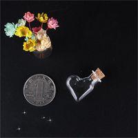 Mini petites bouteilles bouchons en liège bouteilles transparentes coeur en forme de rond Verre dérivant bouteille de bouteilles de bouteilles Pendentres pendentifs décorer 0 99JD m2