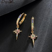 Pipitree Easy Wear Popular Star Charm Charm Dright Pendientes Color Color Cubic Zirconia Cristal Mujer Pendientes Pendientes Punk Party Jewelry1