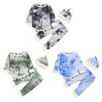 0-24m Autumn Infant Baby Girls Boys Tie-Dye Ropa Sets 3 unids de manga larga Mompers Tops Pantalones Diadema * 1 Y1113