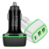 Universal LED Light 3 Ports PD Type c Quick 18W QC3.0 Car charger For Iphone 13 12 Pro max Samsung Tablet PC mp3