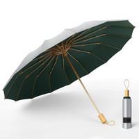 Drei Faltschirme Titan Silber Beschichtung Sonnenschutz Sunny Rainy Dual-Use-Frauen-Regenschirm Superstarker Winddicht UPF50 +