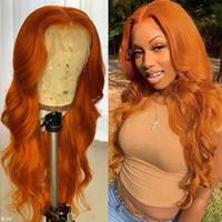 180% Ingwer Orange Brasilianische volle Spitze Front Perücke Wellenartige Auburn Kupfer Rot Synthetische Perücken vorgepteten Haaransatz für Frauen