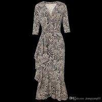 2020 NUEVA Falda de envoltura de estilo de película de verano, Lotus Largo Mediana Lotus Edge Temperament Slim V-Colllar Leopard Print Vestido delgado